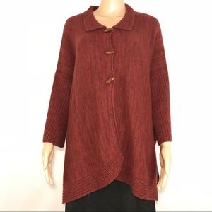 Indigenous One Weave Sweater Alpaca Wool Red Brown